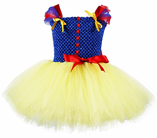 Tutu Dreams Snow White Dress Toddler Girls Birthday Party Dress Up Outfits (S, Yellow) -