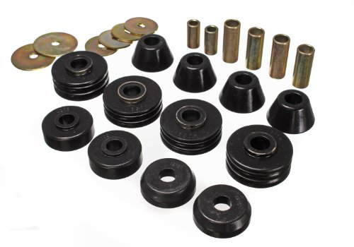 (Energy Suspension 34108G Body Bushings - Energy Suspension Body Mount Bushings Body Mount Bushings - Polyurethane - Black - Chevy - GMC - C10 - C15 - C1500 Pickup - Set of 12)