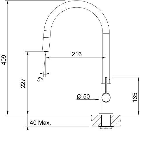 FRANKE Ambient Pull-out Miscelatore Monocomando Lavello con erogatore Estrai 115.0373.947 Chrome 409x216 mm