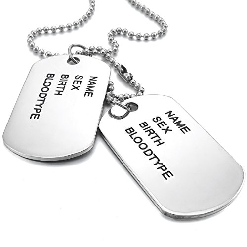 [INBLUE Men's 2 PCS Alloy Pendant Necklace Silver Tone Army Double Dog Tag 27 Inch Chain] (Army Dog Costumes)