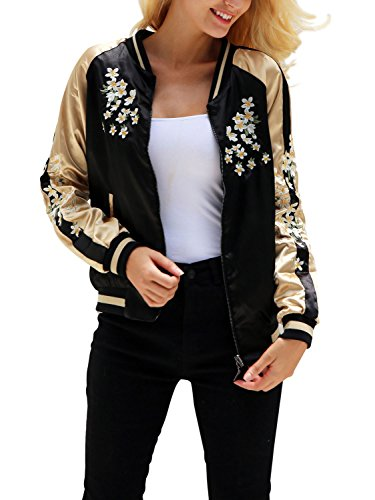 Glamaker Women's Satin Floral Embroidery Reversible Bomber Jacket Coat Black (Print Coat Satin)