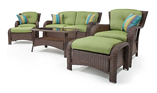 4 PC Conversation Set Furniture Rattan Wicker for Outdoor Garden Beach Patio And Poolside. 1 Rectangle Tempered Glass Top Coffee Table +1 Loveseat +2 Single Sofa +3 Cushions. Color: Chocolate Brown