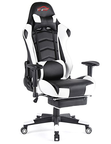 Ergonomic Gaming Chair PC Game Computer Office Chair with Footrest (White) by Top Gamer