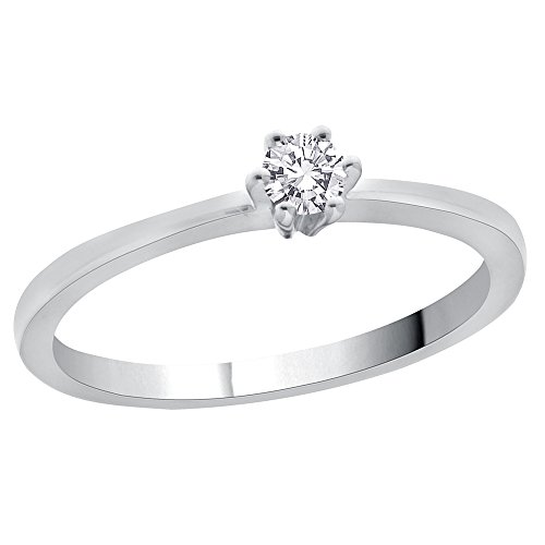 Diamond Promise Ring in Sterling Silver (1/10 cttw) (GH-Color, I2/I3-Clarity) (Size-6) by KATARINA