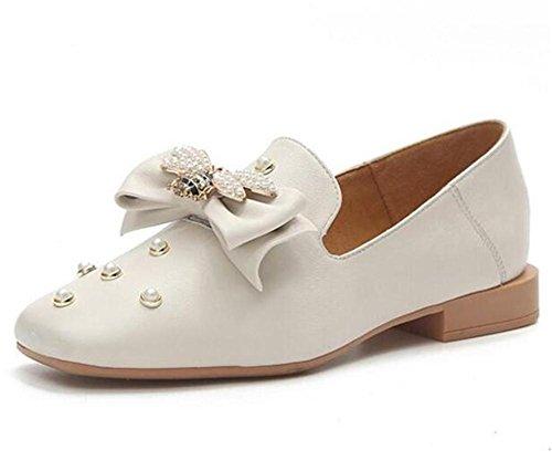 EU36 Ballerina Closed da Pearl pelle vera EU38 Taglia donna BEIGE Toe piatta Scarpe mocassini 35To39 Bow XIE 0vnxwaq