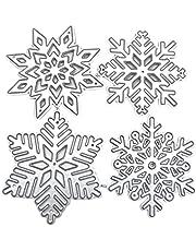 COMEYER 4 stks/set Sneeuwvlokken Metalen Stansmessen Diverse Vormen Kerst Sneeuwvlokken Embossing Template Stansmessen Stencils