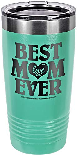 """GIFT FOR MOM - """"BEST MOM EVER ~ LOVE YOU"""" GK Grand Engraved Stainless Steel Vacuum Insulated Tumbler 20 oz Large Travel Coffee Mug Hot & Cold Drink Christmas Birthday Mothers Day (PASTEL-TEAL)"""
