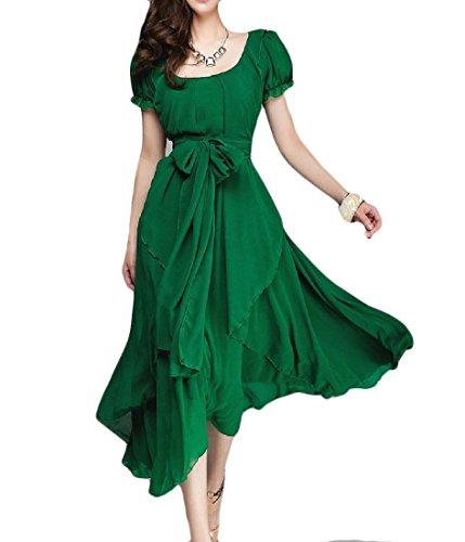 Mid Length Chiffon - Vska Women's Unbalanced Chiffon Mid Length Solid Evening Dress Party Dress Green L