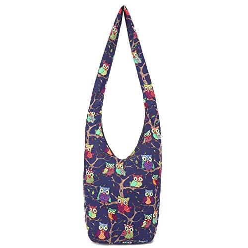 Women Hand Fashion canvas Crossbody Bags Cotton Bohemian Animal Prints Hobo Bags (blues)