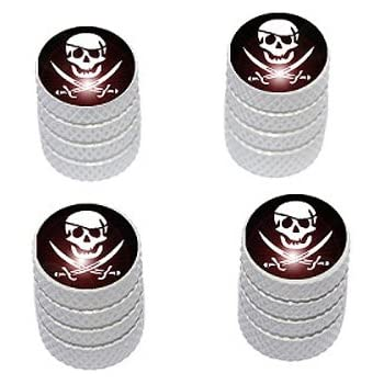 Motorcycle Bike Tire Valve Stem Caps Pink Tribal Skull on Black