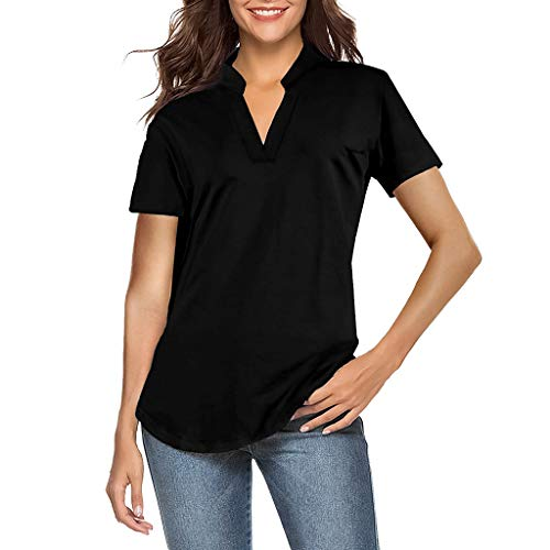 (Casual Curved Hem Henley Blouse,Londony Women's Short Sleeve V Neck T Shirts Casual Plain Summer Tee Tops Blouse Black)