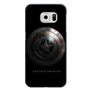 Samsung Galaxy S6 edge Case, UniqueBox Customized Marvel Comics Captain America Logo Black Hard Plastic Case Only Fit For Samsung Galaxy S6 edge