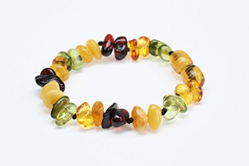 (Amber Beata 'Caribbean Rain' Certified Baltic Amber Teething Bracelet and Anklet Baby Beads for Teethers (Baltic Amber Cognac, Milky Butterscotch, Cherry Amber and Green Caribbean Amber))