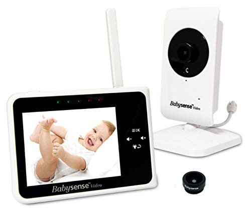 Babysense Video Baby Monitor 3.5″ with Interchangeable Wide Angle Lens | Keep Babies Safe with Night Vision, Talk Back, Room Temperature, Lullabies, White Noise, Wide Range and Long Battery Life