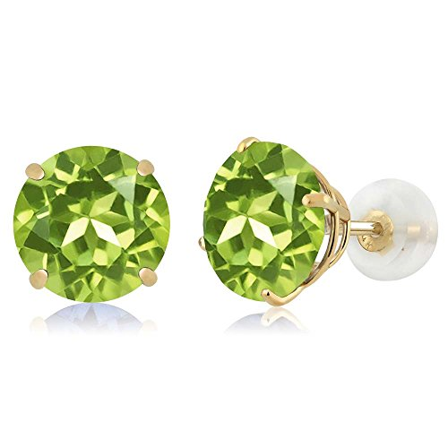 Gem Stone King 14K Yellow Gold Natural Green Peridot Basket Stud Earrings 4.00 Ct Round Gemstone Birthstone ()