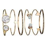 Hatoys Set of 6 PCS Classic Gold Tone Love Luck Cuff Bangle Bracelets Set for Women (Multicolor -A)