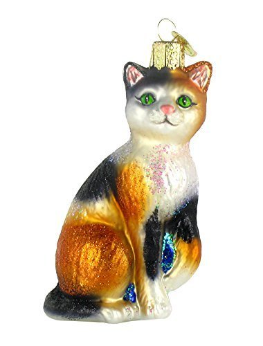 (Old World Christmas Ornaments: Calico Cat Glass Blown Ornaments for Christmas Tree)