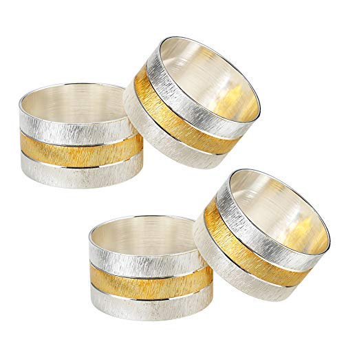 accmor Napkin Rings, Metal Gold Round Napkin Rings Buckles for Table Decorations, Wedding, Dinner,Party, Set of 4 (Linen Napkins Rings)