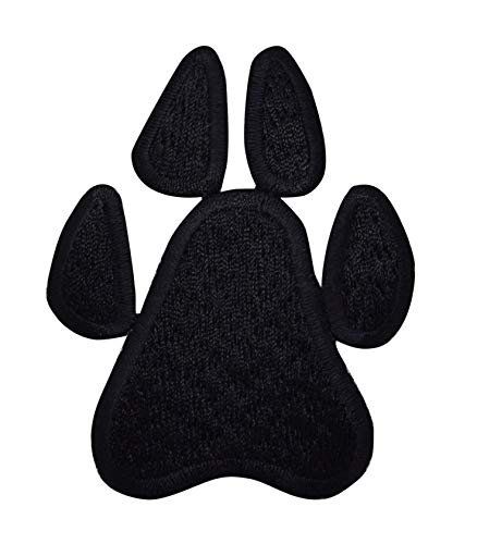 Large Black Paw Print Iron On Embroidered Applique Patch