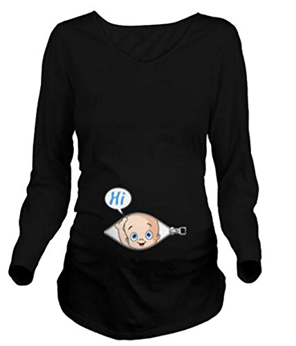 資源起訴する小さなZhhyltt 出産のtシャツ Women's Maternity T-shirt Hi Baby Cute Funny Pregnancy Long SleeveT-Shirt