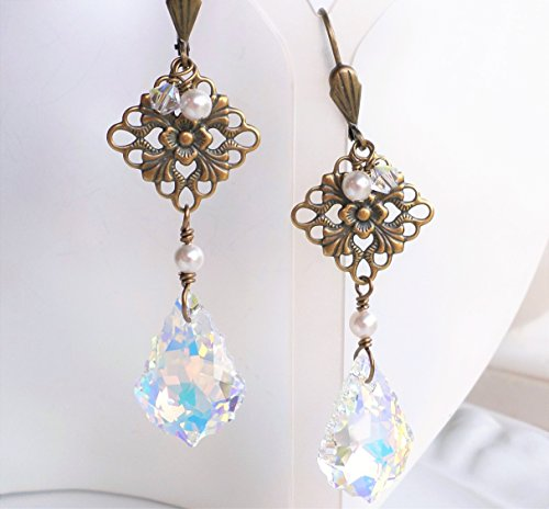 Antique Brass Filigree Crystal AB Chandelier Earrings Art (Renaissance Bronze Chandelier)