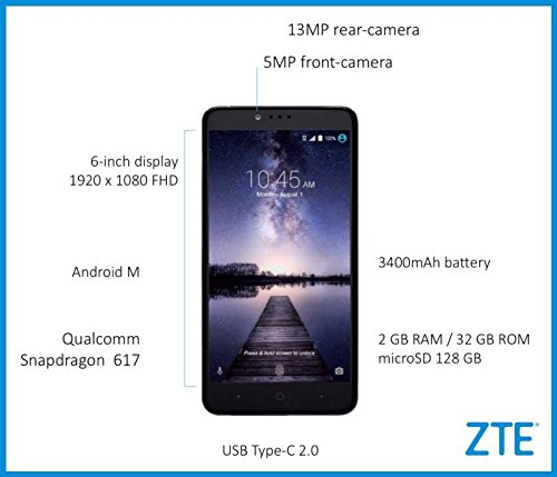 Zte Z Max Pro Z981 4G Lte 32GB Unlocked Metropcs, T-mobile, At&t , Usa &  International