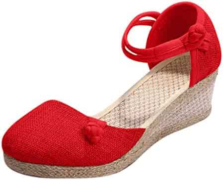 fd7671b6ffe0 TIFENNY Hemp Weaving Close Toe Wedge Sandals for Women Retro Linen Canvas  Round Toe Casual Sandals