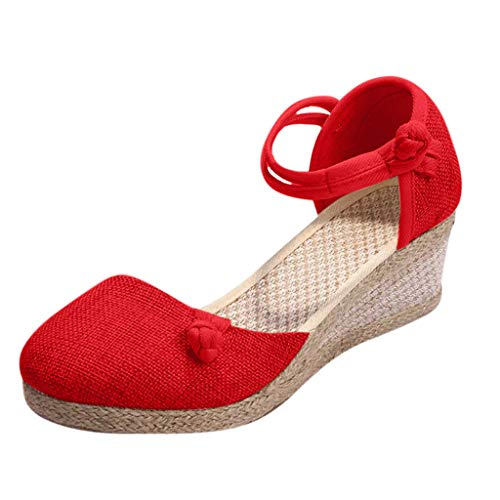 Women's Ankle Strap Low Wedge Espadrilles Heel Sandals Platform Heel Comfortable Closed Toe Singles Shoes Red -