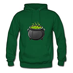 Customized X-large Hoody Green Cartoon Halloween Potion In A Cauldron Painting Women Organic Cotton S
