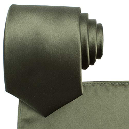 KissTies Dark Olive Green Necktie and Pocket Square Solid Satin Tie Set + Gift Box (Tie Olive Green)