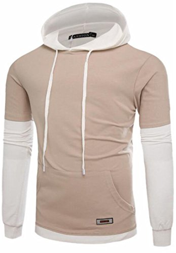today-UK Mens Hip Hop Long Sleeve Hooded Patchwork Sweatshirt Pullover apricot