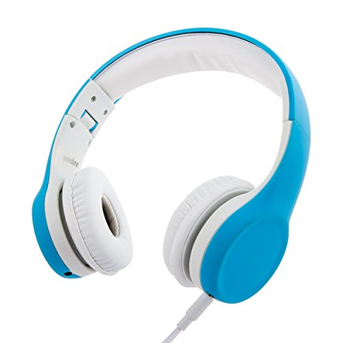 Sharing Music (Wired Volume Limited Foldable Kids Headphones with Microphone and Music Sharing for Boys Girls Children (Blue))