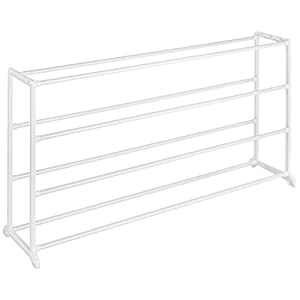 Whitmor 4 Tier 20 Pair Floor Shoe Rack – White