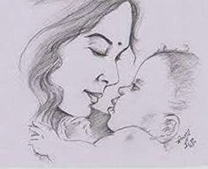 Jhar product black white happy mothers day pencil painting 12 inchx12 inch l