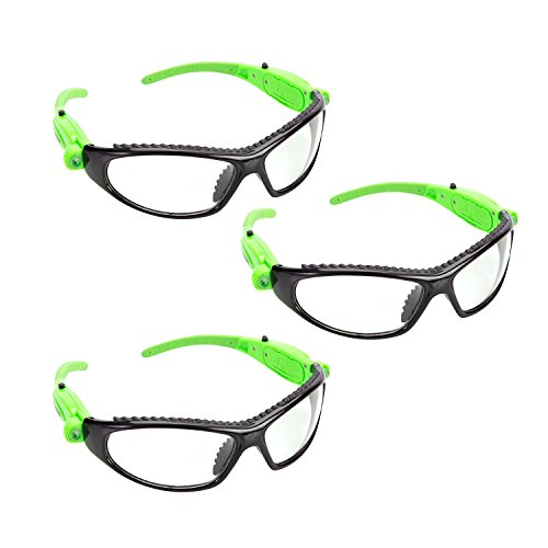 OEMTOOLS 26017PK3 Black & Green LED Safety Glasses, 3 Pack