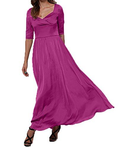 Brautmutterkleider Elegant Partykleider Damen Fuchsia A Abschlussballkleider Charmant linie Abendkleider Langarm nRgWUxU