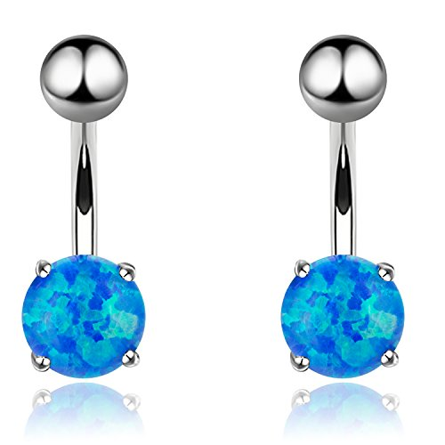 2Pcs Belly Button Rings 14G Opal Sparkle Navel Rings Stainless Steel Body Piercing Jewelry (Blue 14G=1.6mm)