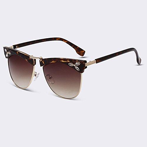 TIANLIANG04 Elegante Style Occhiali Da Sole Donna Occhiali Da Sole Cat Eye a Schermo Piatto Mezzo Telaio Occhiali Fashion lenti Sfumate UV400,C06
