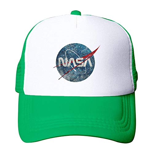 Heiazha Hipster Printed Adult Cap,Nasa Fusion Emblem Ultra-Vintage Mesh Fitted Hats Snapback Cap for Men Women Green