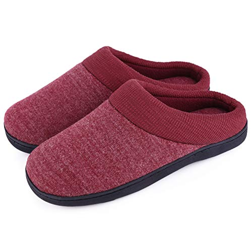 Women's Comfort Slip On Memory Foam Slippers French Terry Lining House Slippers w/Anti Slip Sole (5-6 M US, Burgundy)