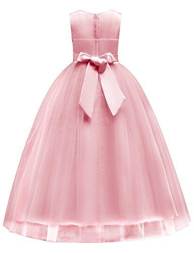 9b7adf5ee85ba Blevonh Girls Pageant Dress Child Zipper Sleeveless Lace Big A Line Dress  Butterfly Knot Summer Floral