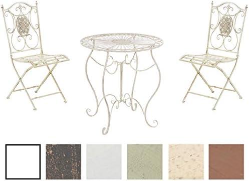 Conjunto de Mesa & 2 Sillas Plegables Aldeano I Juego de Mesa & Sillas para Jardín I Conjunto de Muebles de Jardín en Hierro Galvanizado I Color:, Color:Crema Envejecido: Amazon.es: Jardín