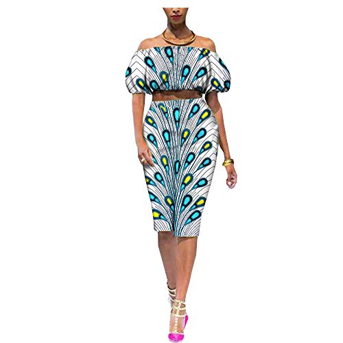 African Ankara Print Women Dress 2-Pieces Suit Short Puff Sleeve Top+Knee-Length Pencil Skirt 100% Batik Cotton Made AA722653 475J 6X