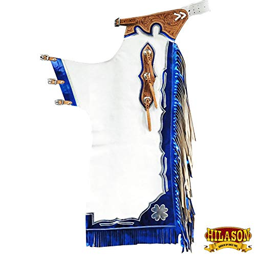 HILASON Ch138N-F Bull Riding Genuine White Leather Rodeo Western Chaps
