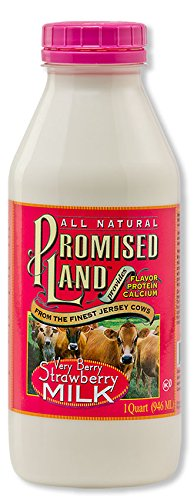 PROMISED LAND MILK VERY BERRY STRAWBERRY 1 QUART PACK OF 3