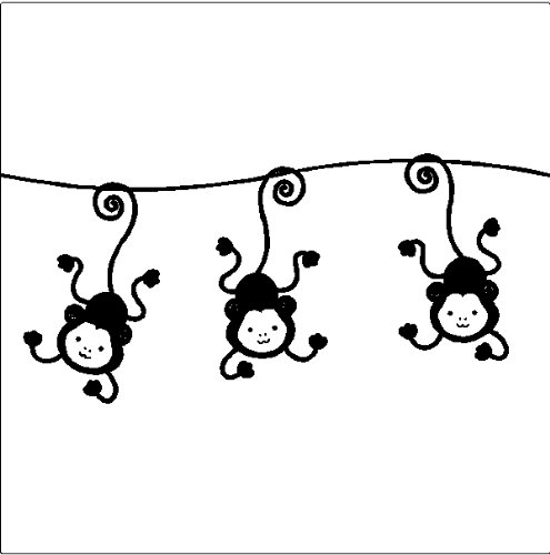 - Hanging Monkeys Removable Wall Decals Stickers Border Art Childrens Room ( 13
