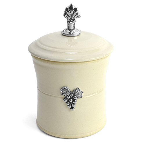 Crosby & Taylor Vineyard Garlic Pot with Pewter Finial, Whipping Cream