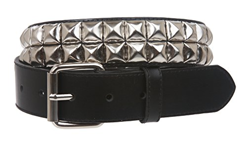 Snap On Two Row Punk Rock Star Metal Silver Studded Leather Belt Size: XS - 29 Color: Black