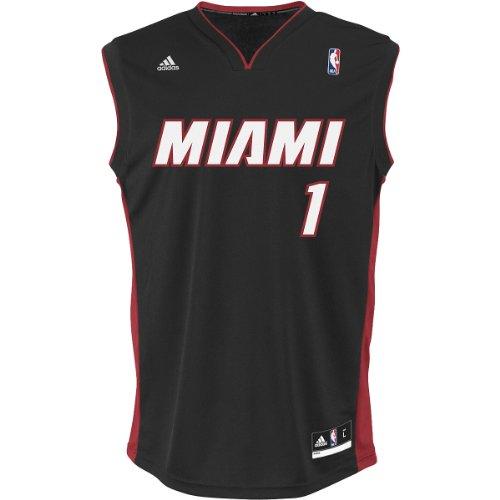 NBA Miami Heat Black Replica Jersey Chris Bosh #1, Small