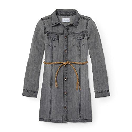 The Children's Place Big Girls' Long Sleeve Casual Dresses, Granitewsh 84955, XL (14)